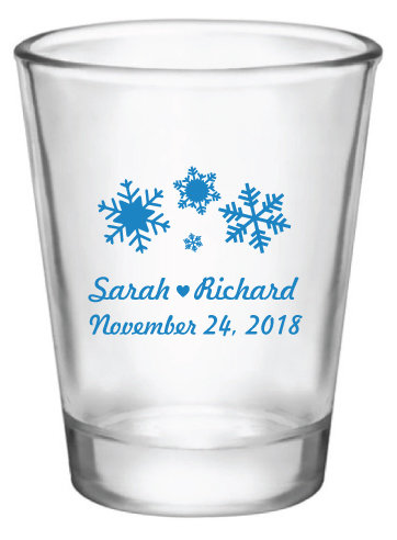Winter Wedding Favors, Winter Shot Glasses, Christmas Wedding, Love Laughter & Happily Ever After, Personalized Glasses
