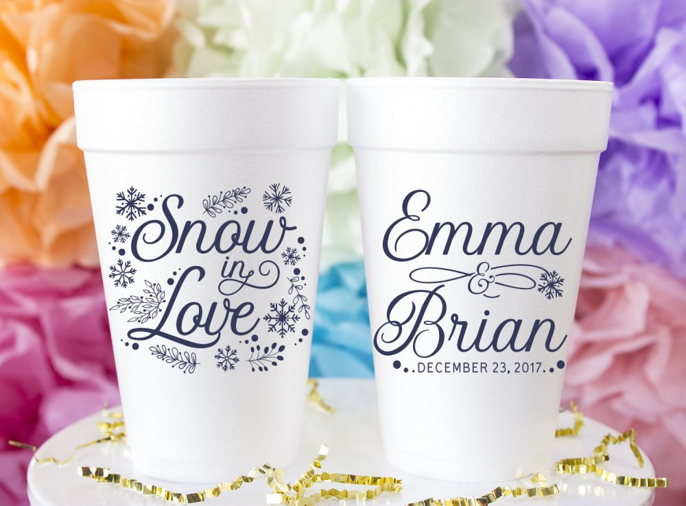 Snowflake Wedding Favors, Snow in Love, Winter Wedding, Engagement, Christmas Personalized Cups, Styrofoam Foam Cups