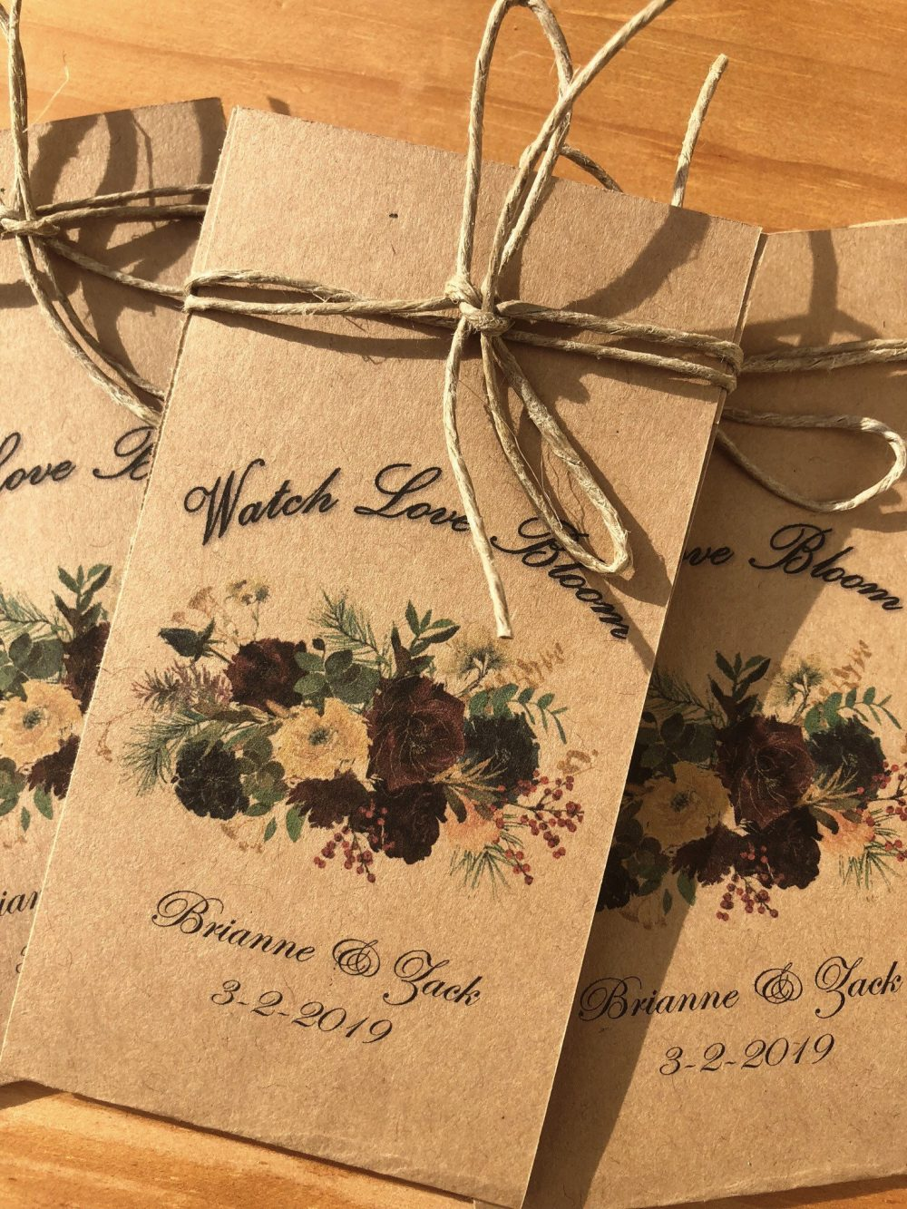 180 Flower Seed Favors - Boho Wedding Favors Seeds Included Favor Packets Burgundy Custom