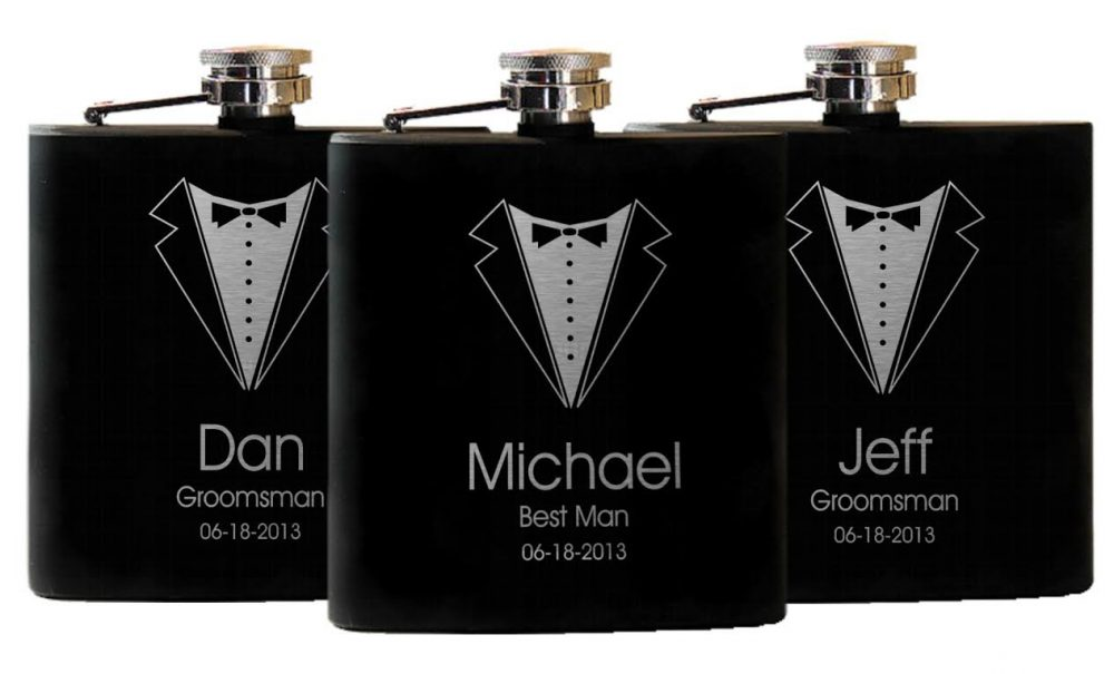 Flasks, 5 Groomsmen Gifts, Custom Gift, Suit & Tie, Wedding Liquor Flask, Personalized Gifts For Him, Best Man Gift