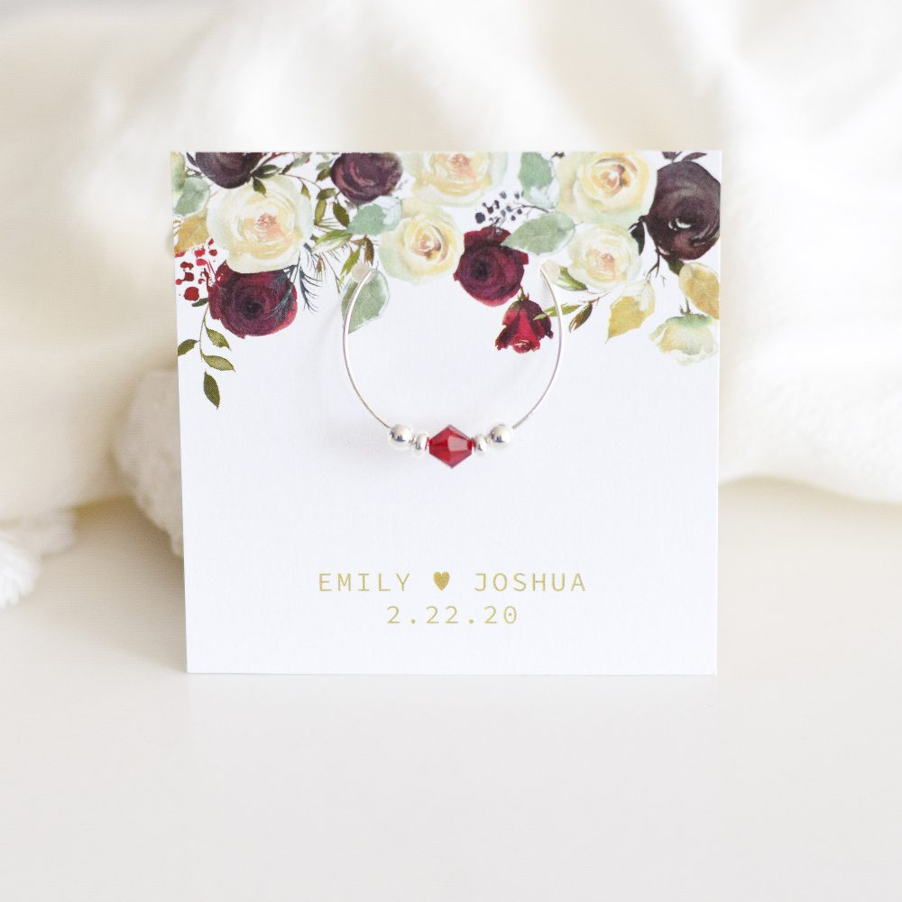 Burgundy Wedding Favors, Winter Fall Favors Guests, & Gold Decor, Swarovski Crystal Wine Charms