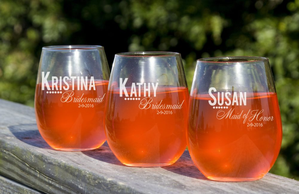 Wine Glasses, 8 Personalized Stemless Bridesmaid Custom Engraved Bridal Party Favors, Gift