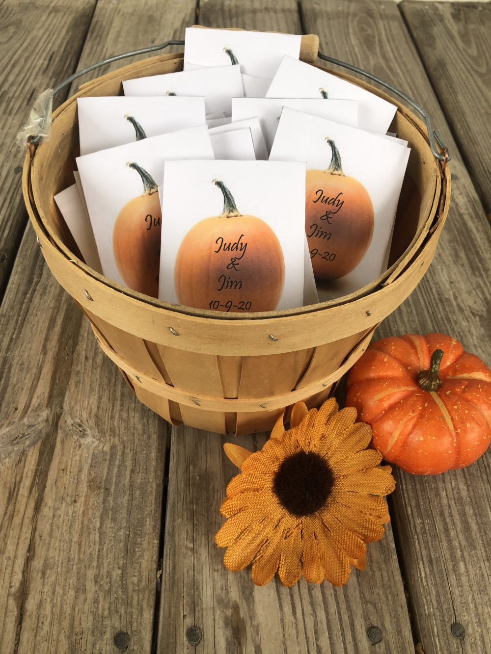 50 Custom Fall Wedding Seed Packet Favors, Pumpkin Wedding Favors, Fall Autumn Orange Pumpkin Favors