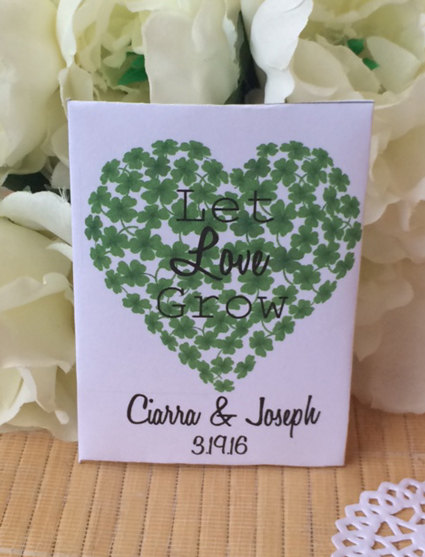50 Shamrock Wedding Favors, Seed Packets, Irish Wedding Gifts, Favors, Shower Favors