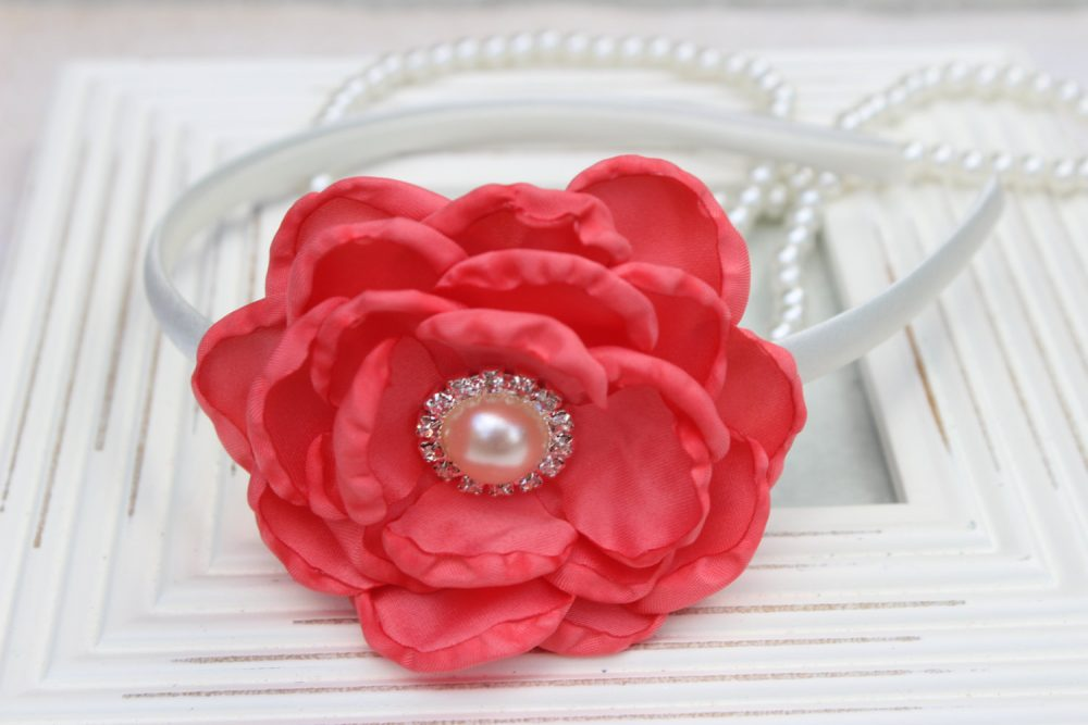 Coral Flower Girl Headband, Coral Satin Headbands, Wedding Girls Hard Headband