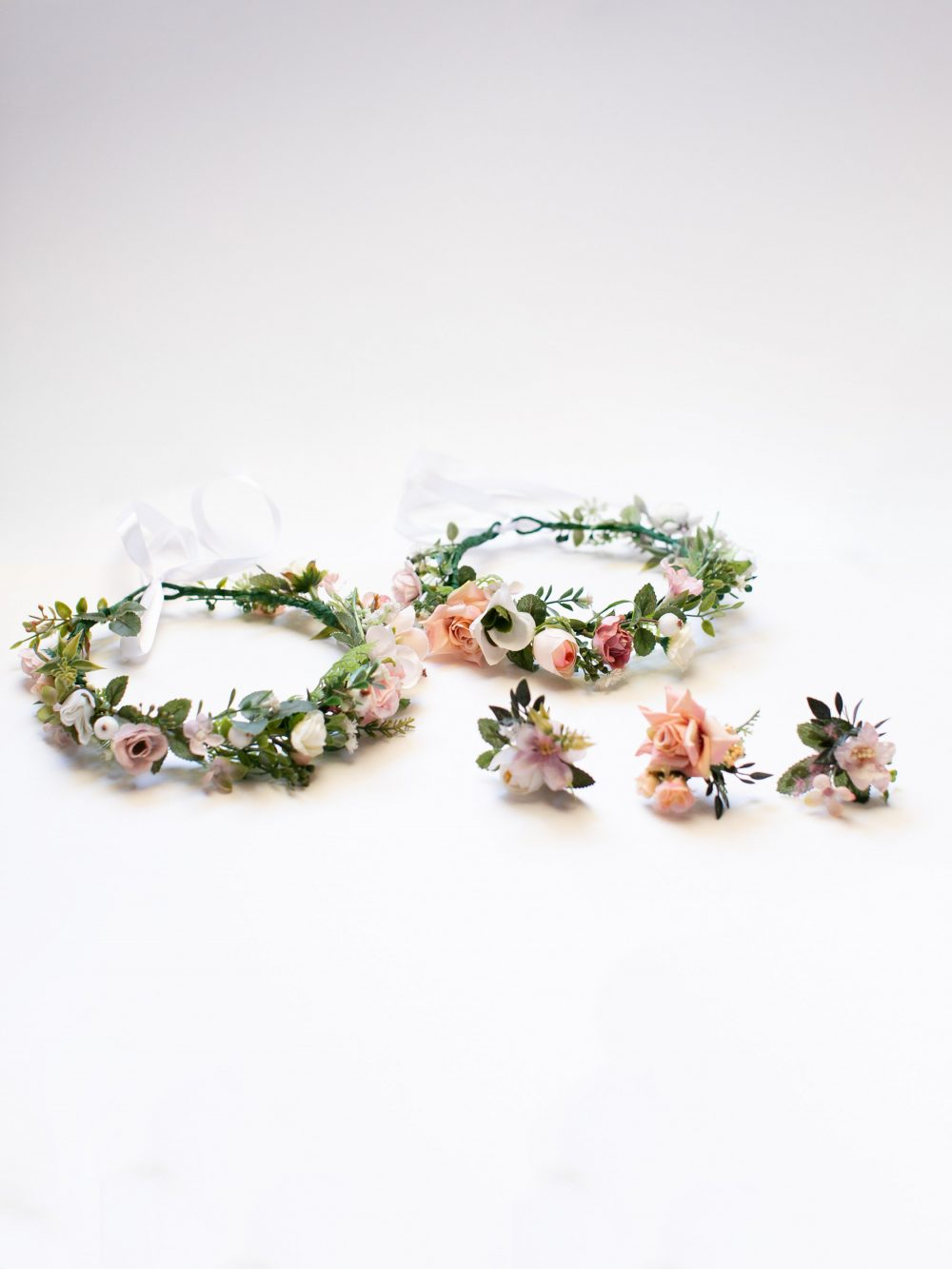 Bridal Floral Crown, Pink Flower Blush Hair Boho Wedding Flower Girl Headband