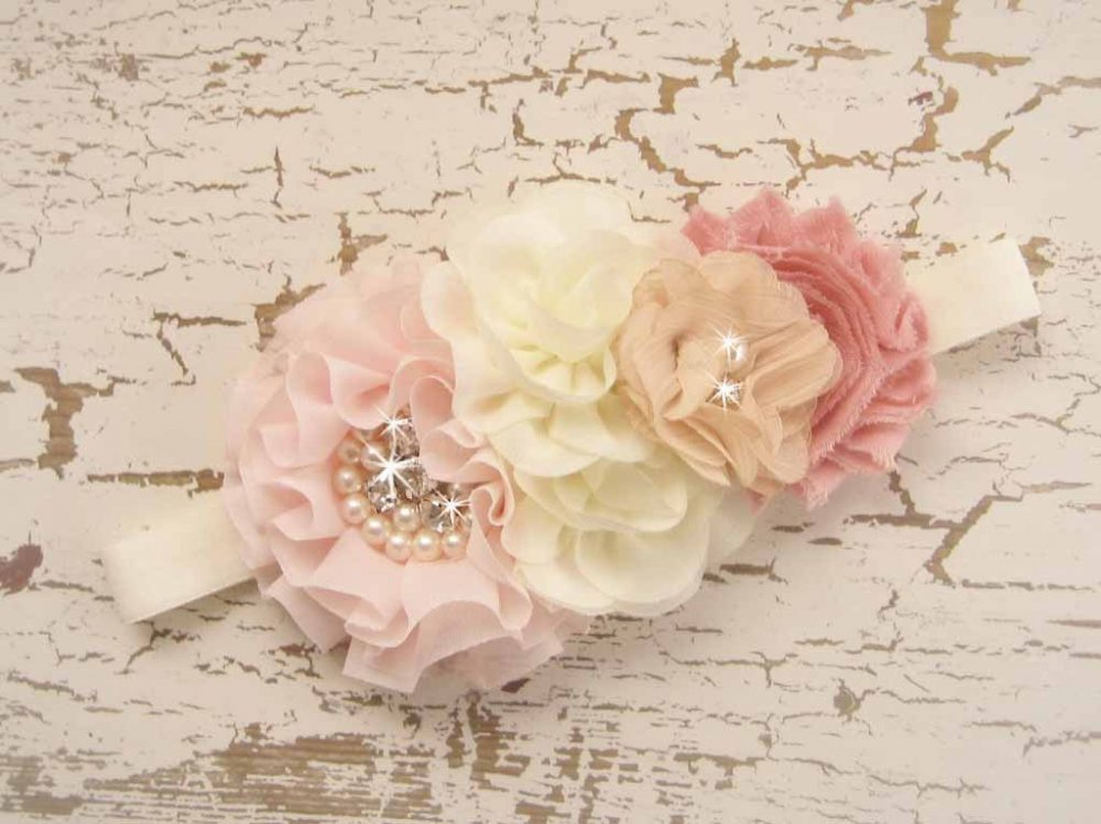Flower Girl Headband Hair Clip Vintage Blush Rose Headband, Hand Dyed Flowers Other Colors Too