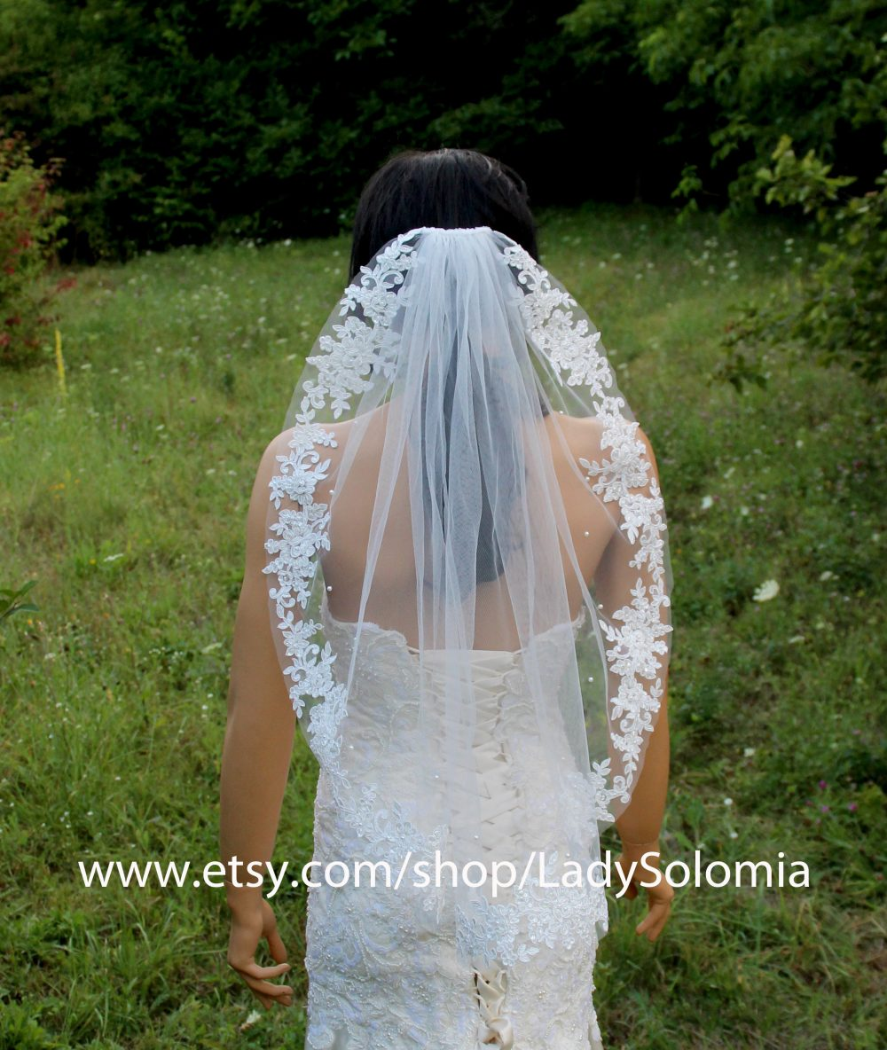 Ivory Wedding Veil Fingertip Beaded Bridal Veil With Applique Edge, Pearls Lace Veil, Ivory Veil, Gloves