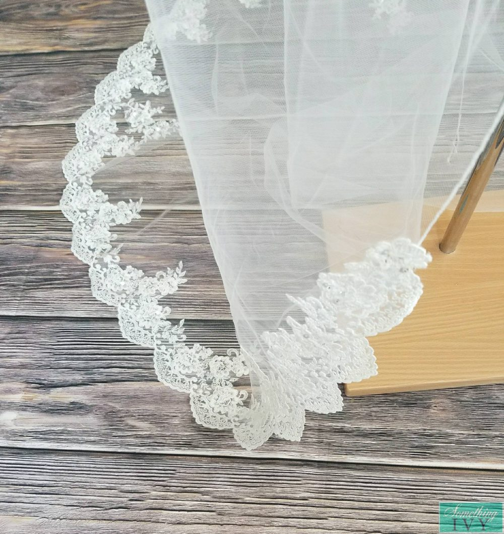 """Fast Ship - 108"""" Cathedral Alencon Beaded Lace Ivory Wedding Veil Long Veils Inches Long Veil, With"""