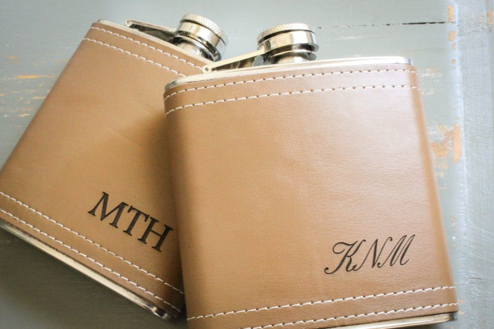 Custom Wedding Flask, Personalized Genuine Leather Engraved Flask Valentine Gift For Him, Groomsmen Bridesmaid Fathers Day
