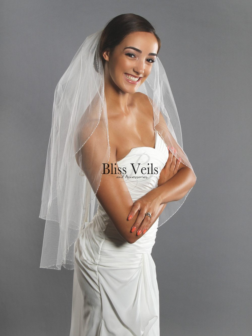 Pearl Beaded Ivory Wedding Veil - Fast Shipping