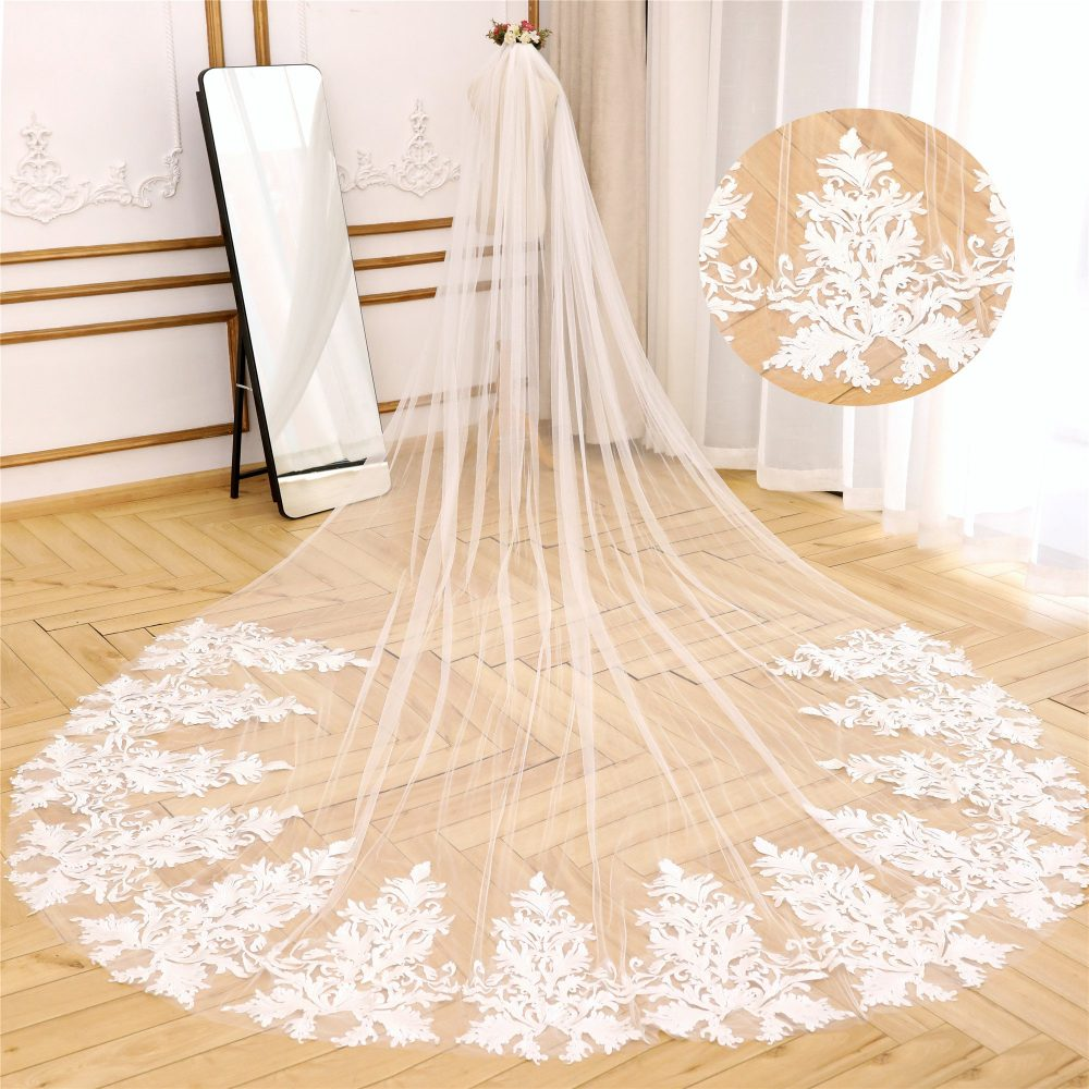 Vintage Ivory Wedding Veil Cathedral With Leaf Lace Cathdral Bridal Chapel Length Long