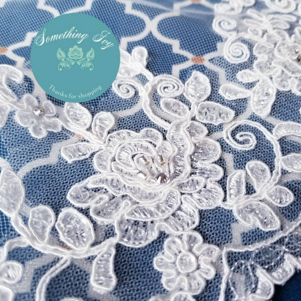 """120"""" Cathedral Alencon Beaded Lace Ivory Wedding Veil - Long Veils Inches Long Veil, With"""