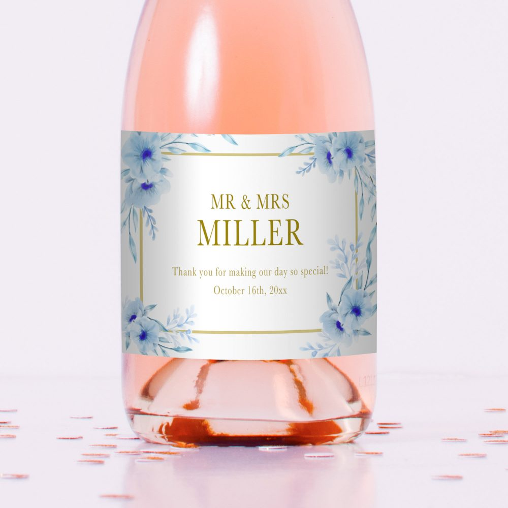 Floral Printed Mini Champagne Bottle Labels, Wedding Wine Favors, Personalized Labels Blue Gold