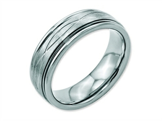 Chisel Stainless Steel Polished/brushed Criss-cross Design 7mm Ridged Edge Wedding Band