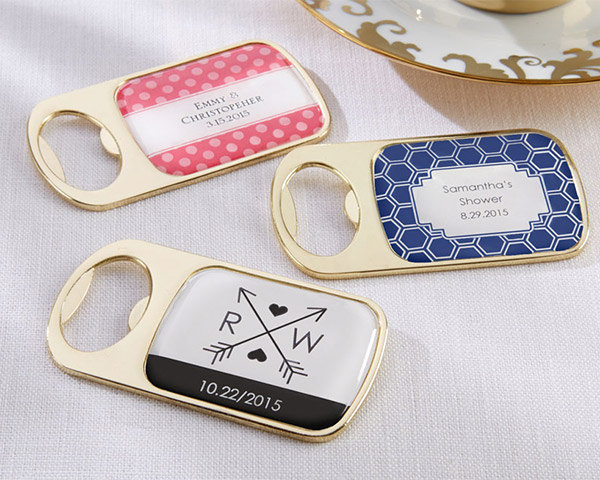 Personalized Gold Bottle Opener With Epoxy Dome Wedding Wine Favors Bridal Shower Bachelorette Party Guest Gifts
