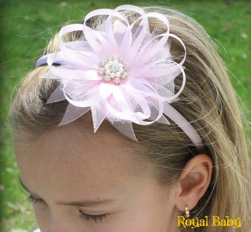 Pink Satin Flower Girl Headband, Kanzashi Flower, Handmade, Wedding Baby Headband