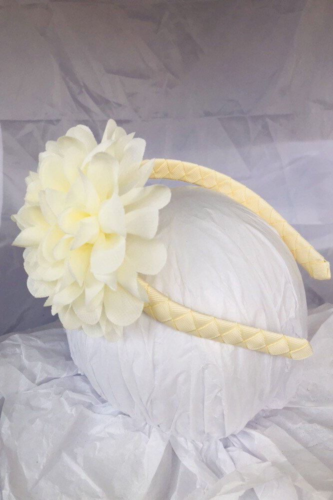 Flower Headband - Ivory Creme White Wedding Flower Girl School Uniform Portrait Hair Accessory Women Girls