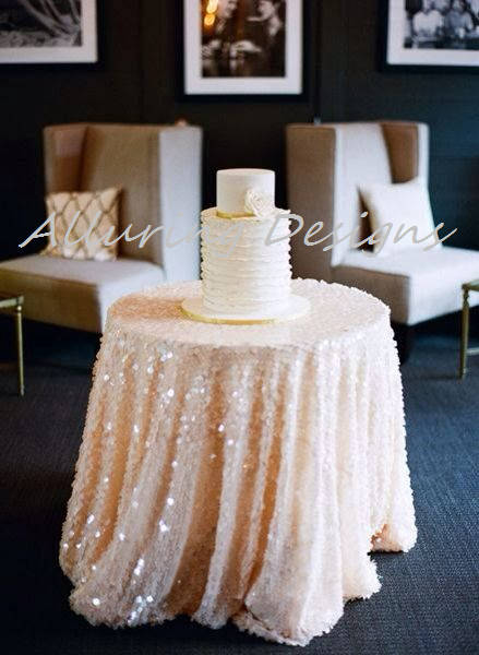 Payette Sequin Linens Tablecloth Runner Overlay Wedding Event Party Anniversary Shower Bridal Reception Glitz Bling Decor Cake Sweetheart