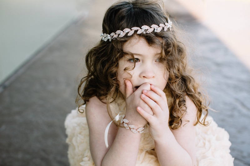 Pearl Flower Girl Headband, Leaf Wedding Headband, Rhinestone Headpiece, Rose Gold Halo, Girl Headband