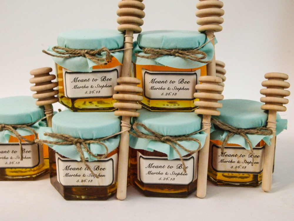 70 - 4Oz Mason Jar Wedding Favors With Honey Dippers