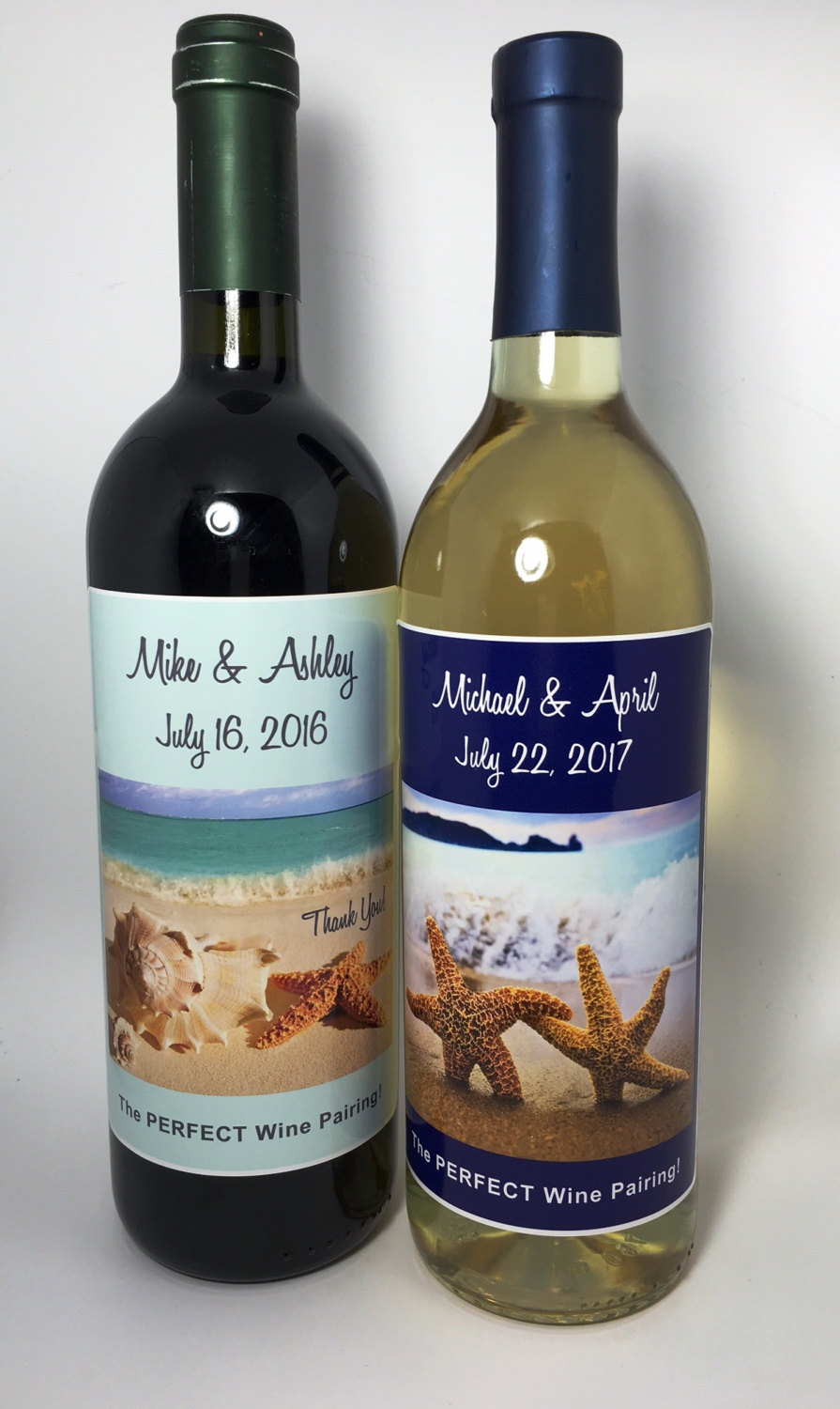 Personalized Wedding Wine Bottle Labels Party Favor Beach Theme Starfish Seashell Waterproof Label Customize Colors Text