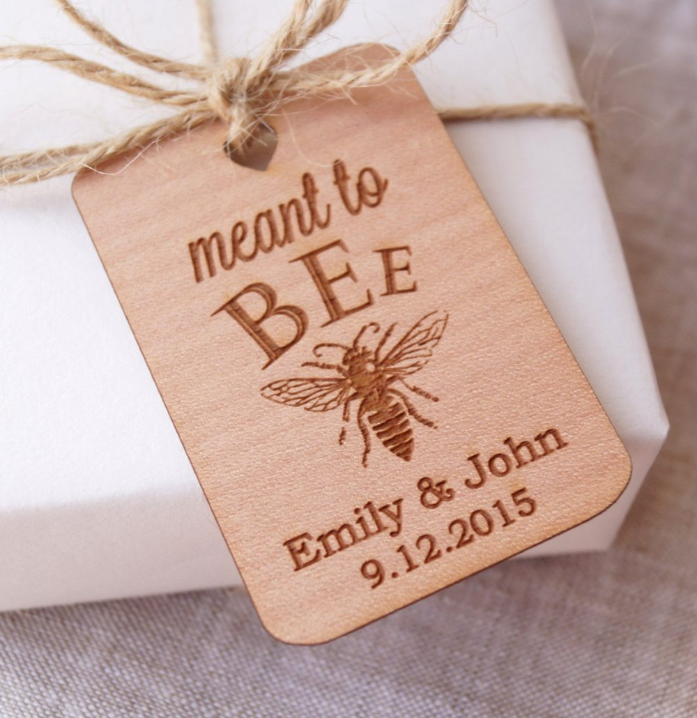 Meant To Bee Wedding Favor Tags, Honey Rustic Gift Thank You Personalized Engraved Tags