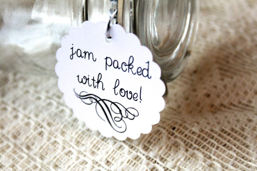 Jam Packed With Love, Wedding Favor Tags, Gift Hang Favors, Jelly Jar, Jar