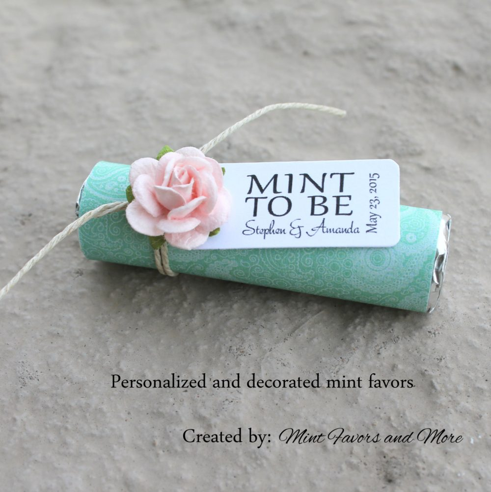 """Mint Wedding Favors - Set Of 30 Mint Rolls """"Mint To Be"""" With Personalized Tag & Blush Details"""