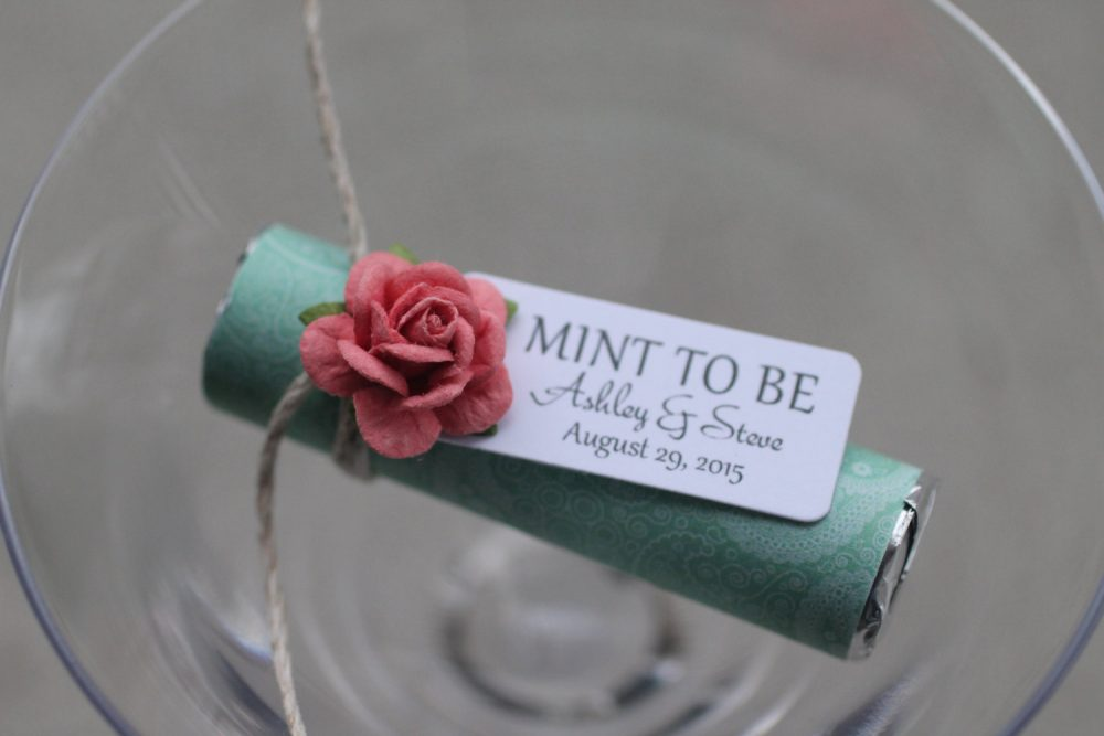 """Mint Wedding Favors - Set Of 30 Mint Rolls """"Mint To Be"""" With Personalized Tag & Coral, Be Mints"""