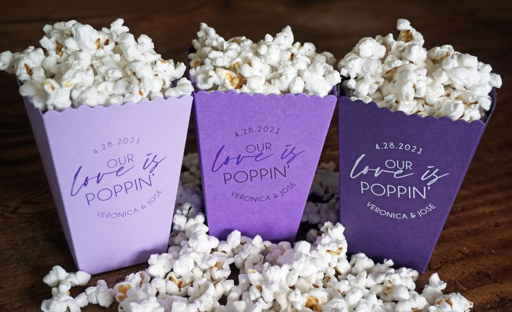 Purple Mini Popcorn Favor Box - Micro Wedding Favor-Custom Printed Box-Wedding Bar-Bridal Dessert Bar-Lavender