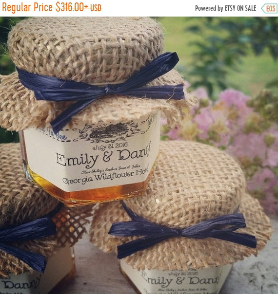 20% Off Sale 100 Mini Honey Jar Rustic Wedding Favors, Burlap Blue Favors