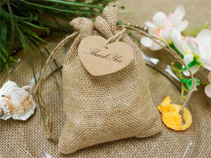 "Wedding Favor Bags Burlap Favors | Primitive Rustic With Jute & Custom Tags Personalized Showers, Weddings, 5"" X 7"""