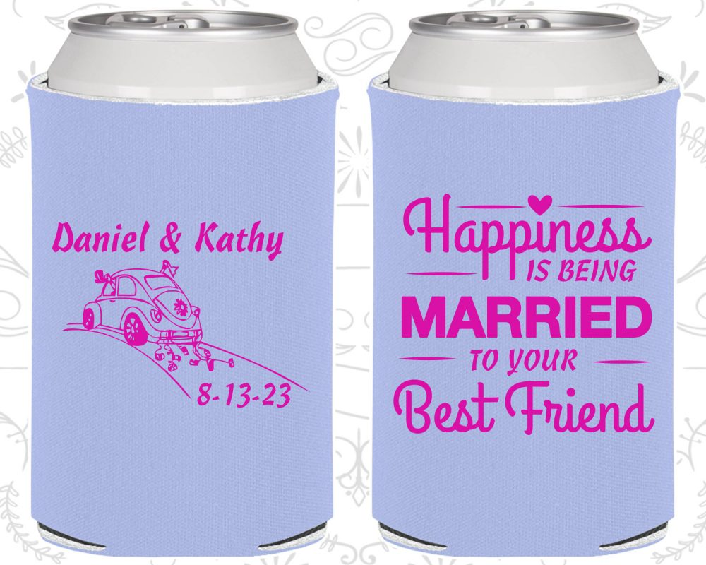 Happiness Is Being Married To Your Best Friend, Personalized Wedding Favors, Vintage Favors, Vintage Car, Wedding Can Coolers | 510