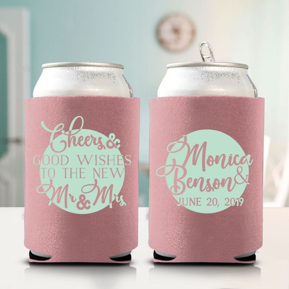 Personalized Wedding Can Coolers, Custom Favors, Party Koozies | 19