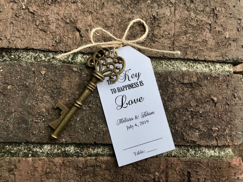 Wedding Escort Tags Seating Place Cards Skeleton Key Bottle Openers Customized Personalized Antique Favors