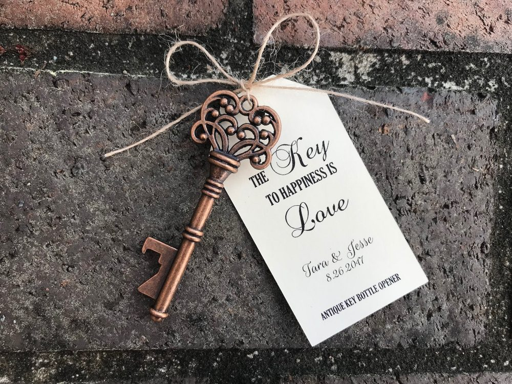 150 Skeleton Key Bottle Openers Customized Tags Personalized Printed Antique Wedding Favors Custom