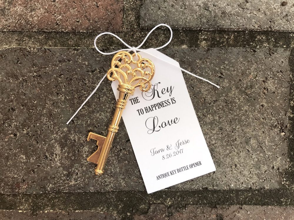 100 Skeleton Key Bottle Openers Customized Tags Personalized Printed Antique Wedding Favors Custom