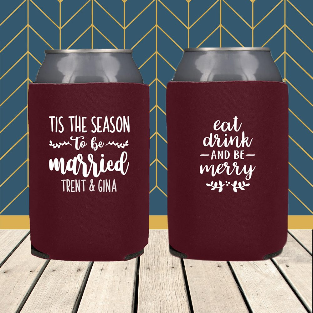 Winter Wedding Favor Foam Koozie Can Coolers, Favors, Personalized, Customized