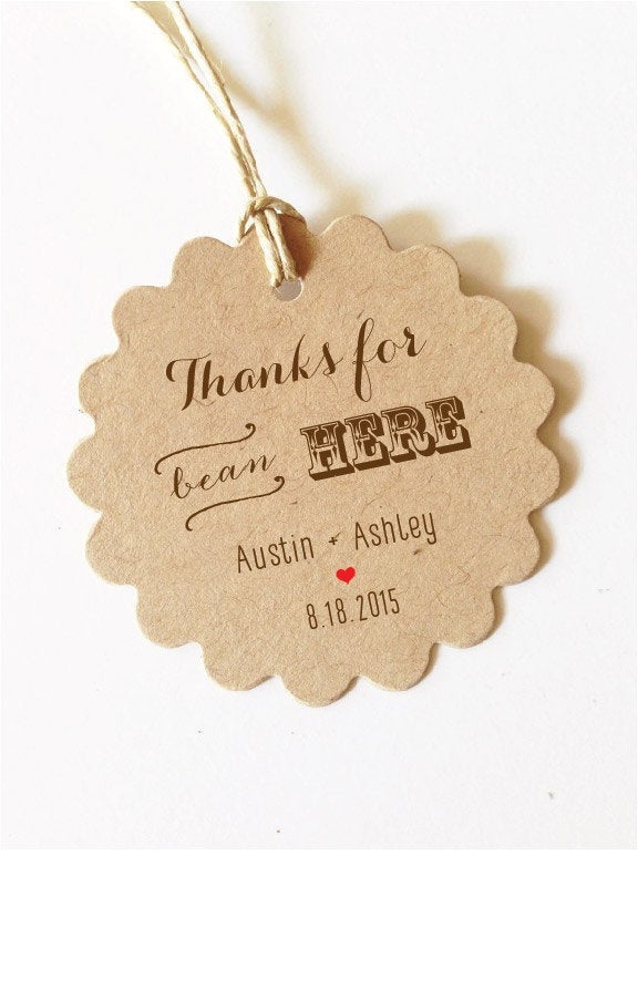 Thanks For Bean Here Wedding Favor Tags Wedding Coffee Favors Tags Gift | Brown Or Black Text