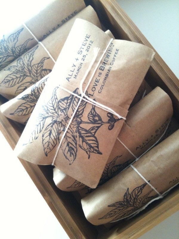 Perfectly Unique Wedding Favors. 30 Coffee Favors Freshly Roasted With Custom Stamp. Made To Order. Perfect For A Rustic Spring Wedding