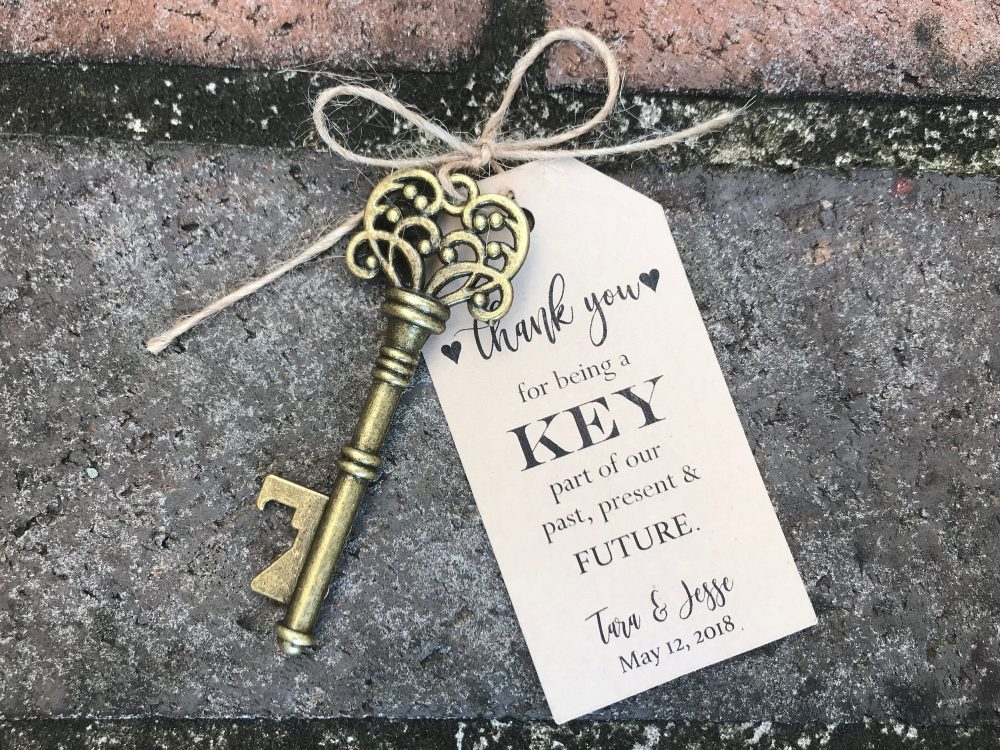 50 Skeleton Key Bottle Openers Customized Tags Personalized Printed Antique Wedding Favors Thank You For Being A Part