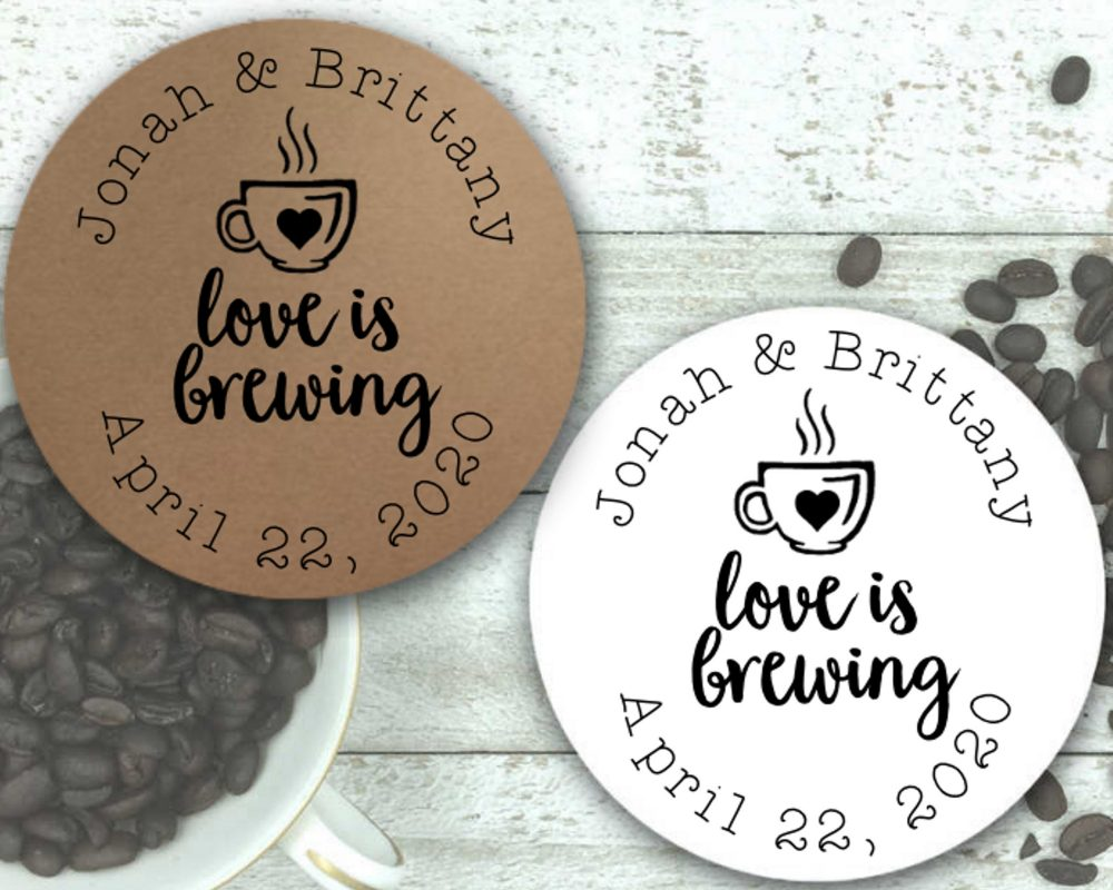 Coffee Or Tea Favor Stickers For Wedding, Party, Shower - Love Is Brewing, Personalized Stickers With Optional Favor Bags Coffee Tea