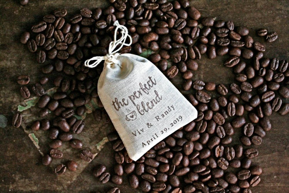 Personalized Coffee Or Tea Favor Bags - Cotton Favor Bags For Wedding, Shower Party The Perfect Blend, Hand Stamped Gift Bag Guests