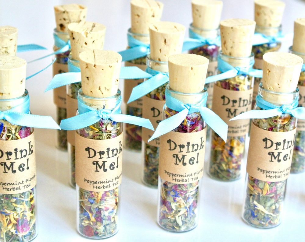 Tea Favor, 10 Mini Glass Bottle Wedding Shower Favors, Edible High Tea, Mad Hatter, Party, Corporate Gift, Loose Leaf