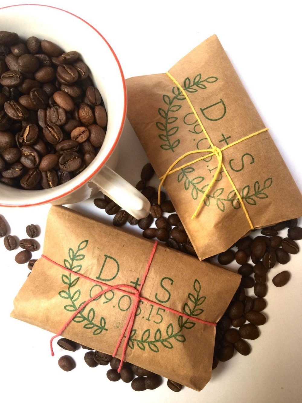 Coffee Wedding Favors. Freshly Roasted Coffee Favors With Custom Stamp Unique To You. Made Order. Set Of 50