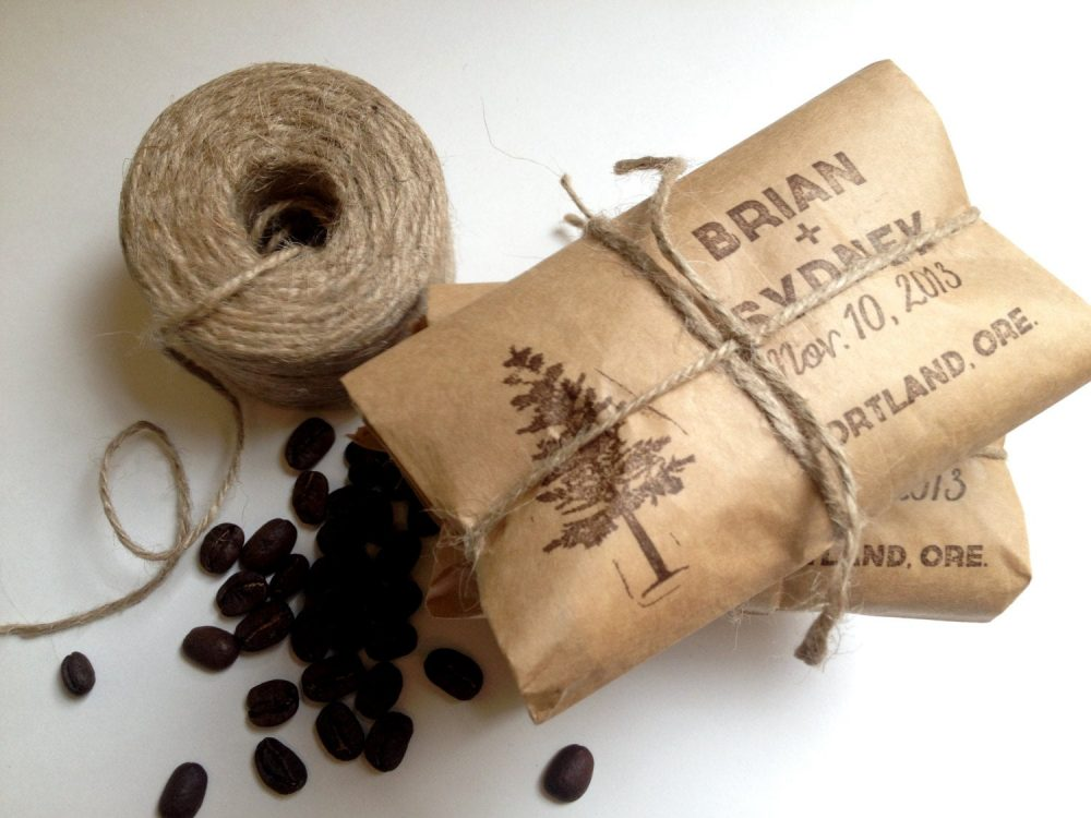 Rustic Spring Wedding Favors. Unique Coffee Favors With A Personalized Stamp. Set Of 30. Custom Wedding Gift