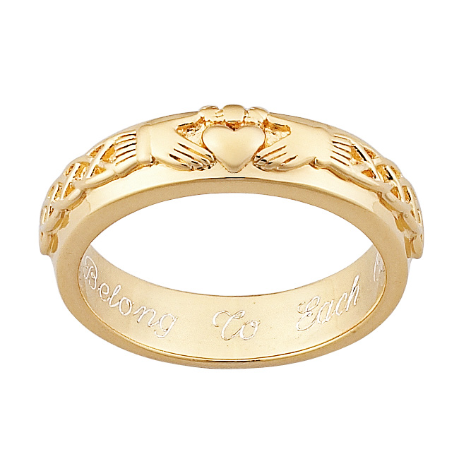Gold over Sterling Engraved Claddagh Wedding Band
