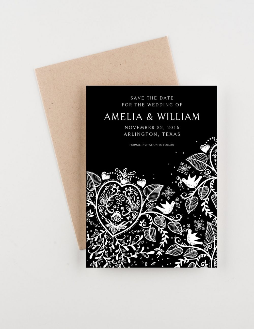 Floral Lace Save The Date, Black & White, Bridal Shower, Wedding Invitation