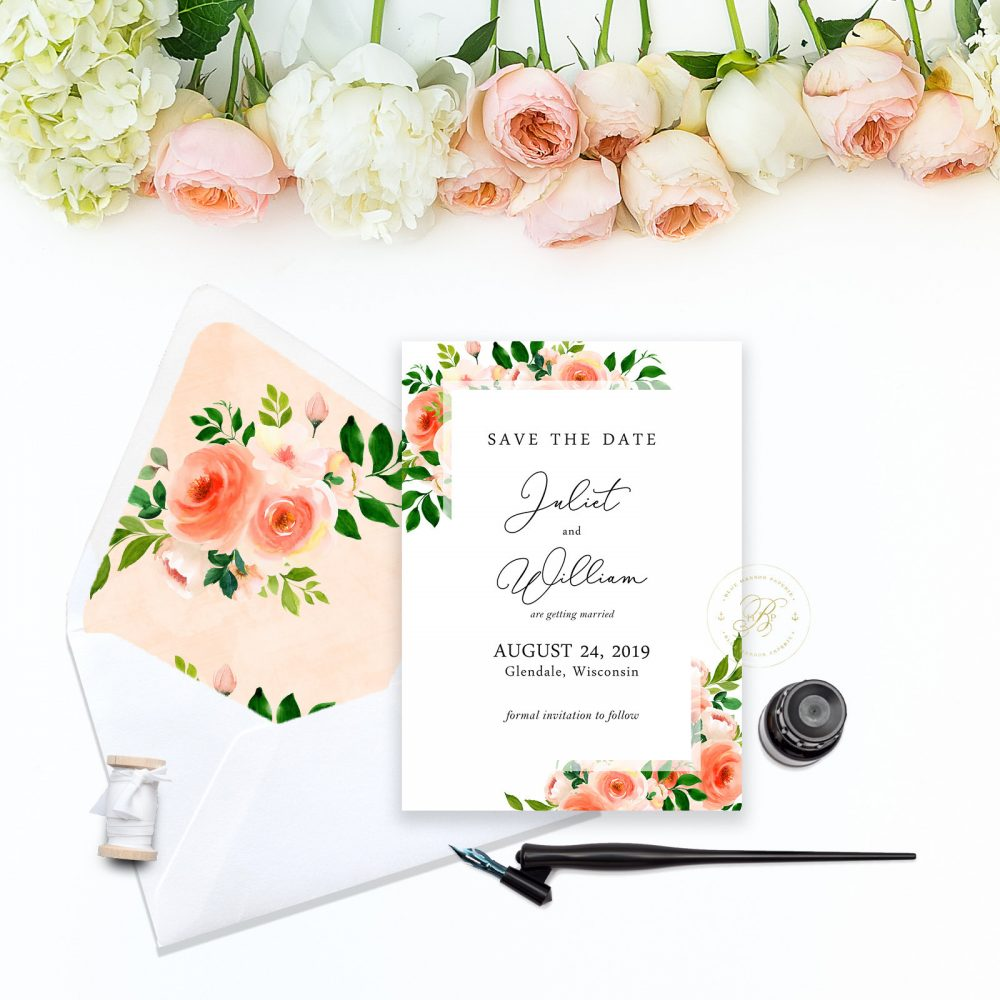 Coral Floral Watercolor Save The Date - Flowers Living Calligraphy Font Suite